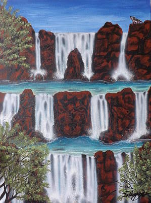 Painting - Wolf Spirit Falls by Darren Robinson