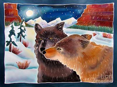 Yellowstone Painting - Wolf Talk by Harriet Peck Taylor