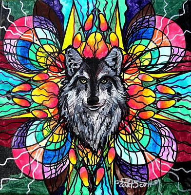 Sacred Art Painting - Wolf by Teal Eye  Print Store