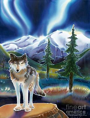 Yellowstone Painting - Wolf Under The Northern Lights by Harriet Peck Taylor