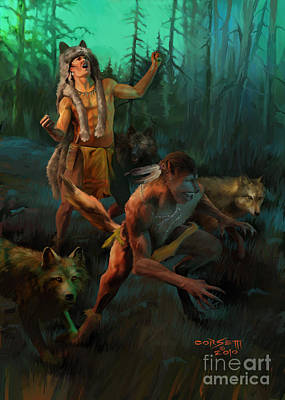 Print featuring the painting Wolf Warriors Change by Rob Corsetti