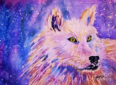 Painting - Wolf  - White Wolf  - Aurora Nights by Ellen Levinson