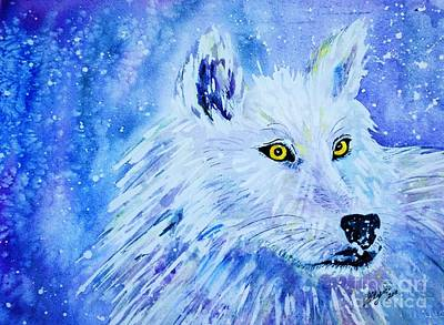 Painting - Wolf - White Wolf - Aurora Nights In Blues by Ellen Levinson