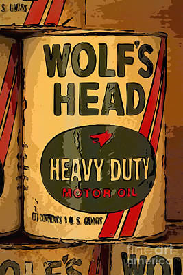Wolf's Head Oil Can Art Print by Carrie Cranwill