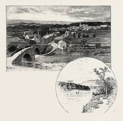 Small Town Drawing - Wolsingham Left, Harperly Right, Uk. Wolsingham Is A Small by English School