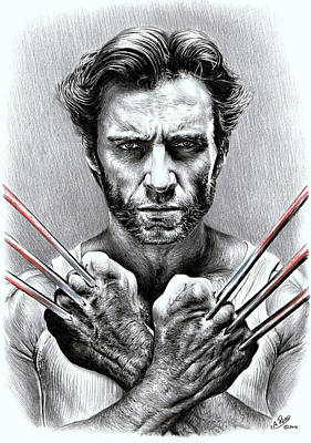 Super Hero Drawings Drawing - Wolverine by Andrew Read