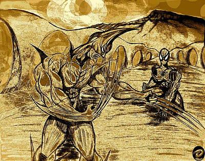 Spiderman Drawing - Wolverine Vs Spiderman In Spain  by Jazzboy