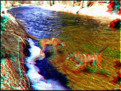Dog In Snow Digital Art - Wolves 3d Anaglyph by Daniel Janda