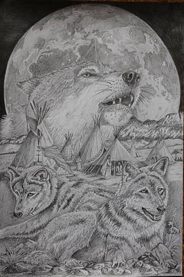 Pee Drawing - Wolves And Natives In Perfect Harmony by Mark Harris