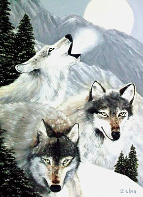 Wolves Howling At The Moon Art Print by Zelma Hensel