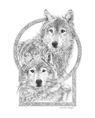 Wolf Drawing - Canis Lupus II - Wolves - Mates For Life  by Steven Paul Carlson