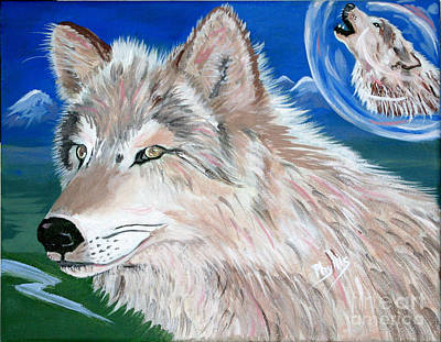 Art Print featuring the painting Wolves by Phyllis Kaltenbach