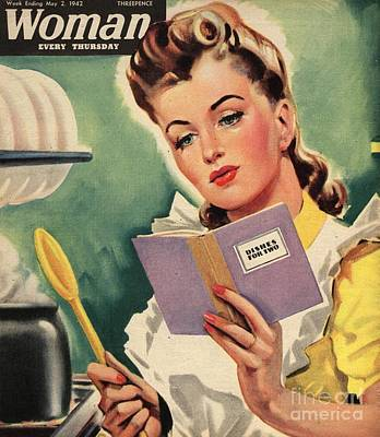 Nineteen Forties Drawing - Woman 1942 1940s Uk Cooking Women by The Advertising Archives