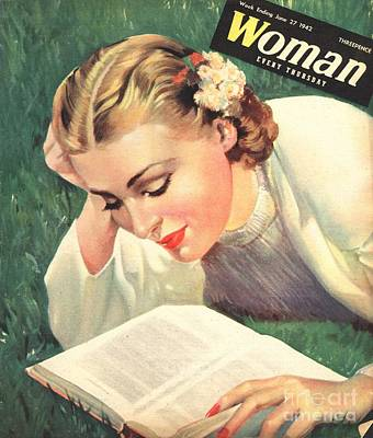 Nineteen Forties Drawing - Woman 1942 1940s Uk People Reading Book by The Advertising Archives