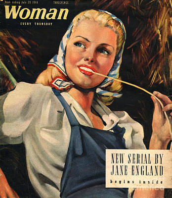 Ww Ii Drawing - Woman 1944 1940s Uk Womens Portraits by The Advertising Archives