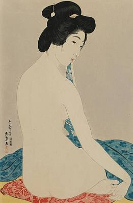 Erotic Japanese Girl Painting - Woman After A Bath Taisho Era by Goyo Hashiguchi