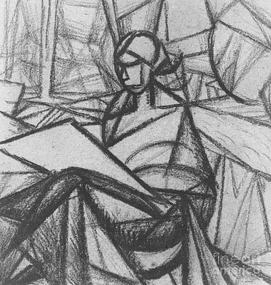Abstract Shapes Drawing - Woman by Alexander Bogomazov