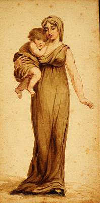 Buck Painting - Woman And Child by Celestial Images