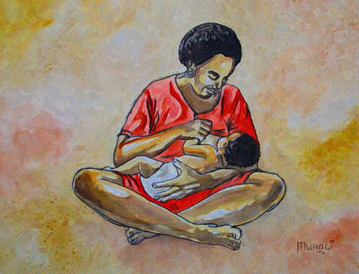 Art Print featuring the drawing Woman And Child by Anthony Mwangi