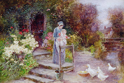 Quaint Painting - Woman And Child In A Cottage Garden by Florence Agnes Mackay