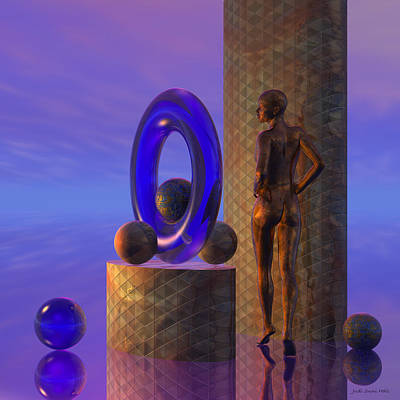 Digital Art - Woman And Columns Nude by Judi Suni Hall