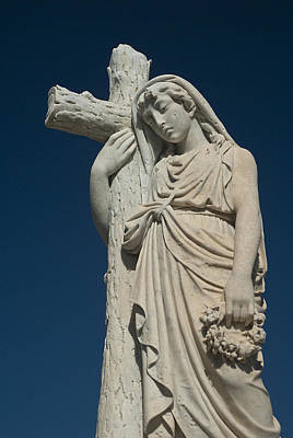 Woman And Cross Statue Art Print