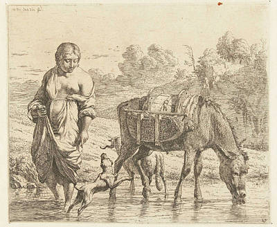 Woman And Donkey Standing In Shallow Water Art Print