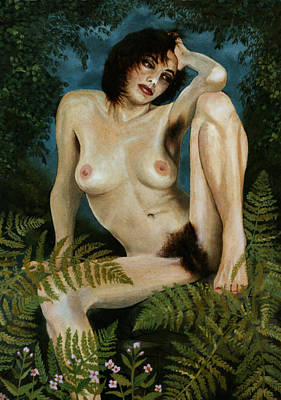 Woman And Ferns Art Print by Jo King