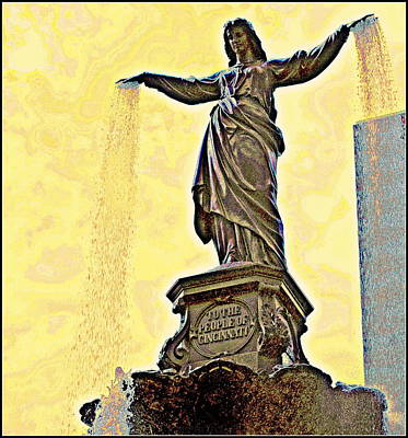 Woman And Flowing Water Sculpture At Fountain Square Art Print