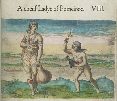 Theodor De Bry Photograph - Woman And Girl Of Pomeiooc by British Library