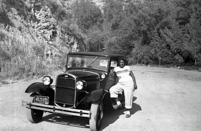 Ford Model A Photograph - Woman And Her Model A Ford by Underwood Archives