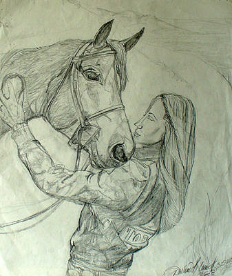 Horse Lovers Drawing - I Love My Horse by Darlene Ricks- Parker