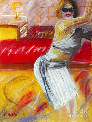 Painting - Woman And Red Couch by William Cain