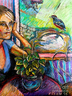 Drawing - Woman And Robin by Stan Esson