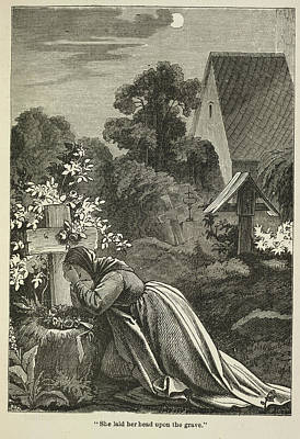 Grave Photograph - Woman At A Grave by British Library