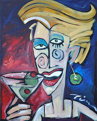 Martini Painting Royalty Free Images - Woman at Martini Bar Royalty-Free Image by Tim Nyberg