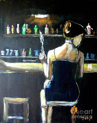 Woman At The Bar Print by Judy Kay