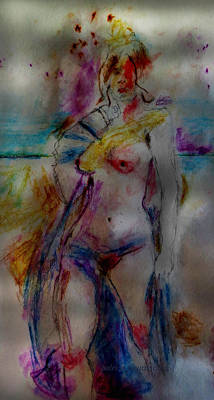Drawing - Woman At The Beach by Patricia Januszkiewicz