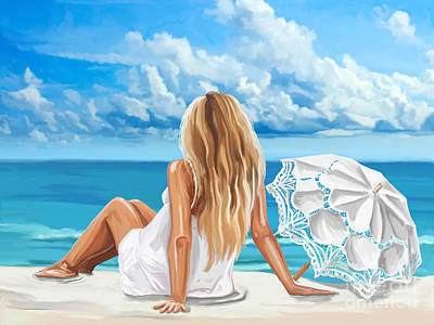 Woman At The Beach Art Print