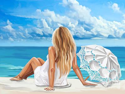 Woman At The Beach Art Print