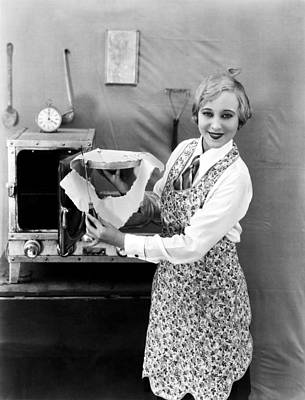 Woman Baking A Pie Art Print by Underwood Archives