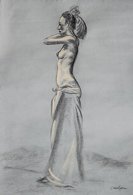Pastel - Woman Balancing A Bag On Her Shoulder by Asha Carolyn Young