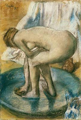 Woman Bathing In A Shallow Tub Art Print