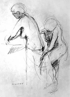 Drawing - Woman Bathing-study by Mark Lunde