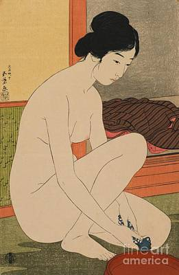 Unclothed Painting - Woman Bathing Taisho Era by Goyo Hashiguchi