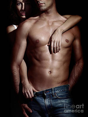 Woman Behind Sexy Man With Bare Torso And Jeans Art Print