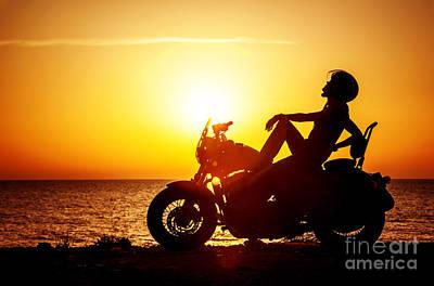 Photograph - Woman Biker Enjoying Sunset by Anna Om