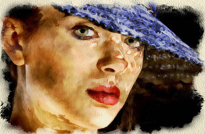 Woman Blue Hat Portrait Art Print