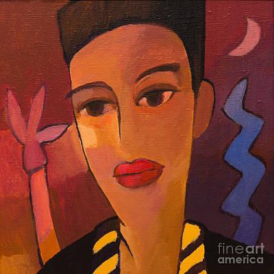 Lips Painting - Woman Blues by Lutz Baar