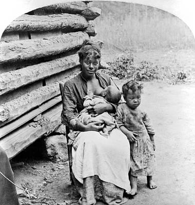 Log Cabins Photograph - Woman Breast Feeding Her Baby by Underwood Archives
